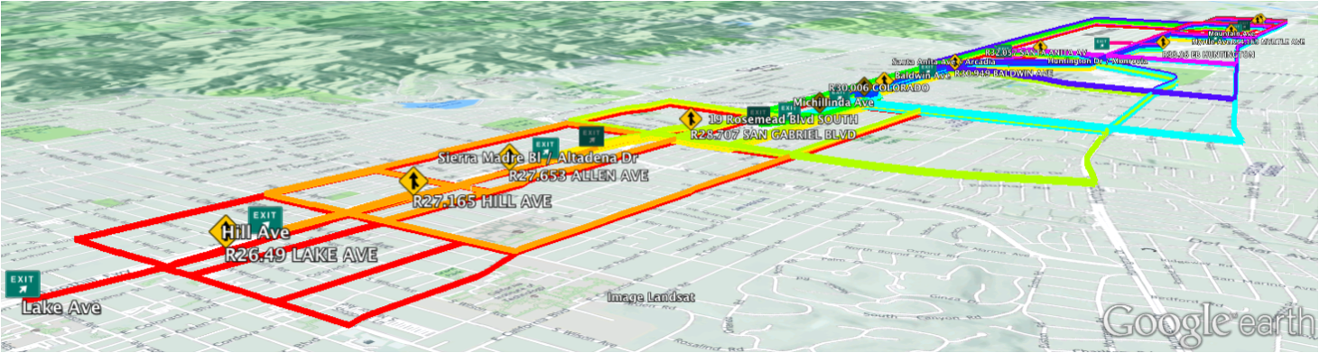 Color coded response plan routes in the I-210 corridor